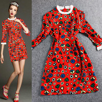 Red Digital Print Ruched Lace Sleeve Bodycon Mini Dress