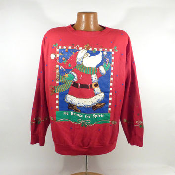 Ugly Christmas Sweater Vintage Sweatshirt He brings the spirit Party Xmas Tacky Holiday XL