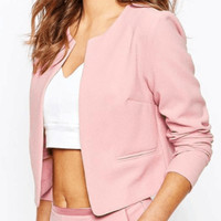Pink Collarless Blazer