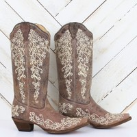 Corral Vintage Brown Crater Bone Embroidery Boots | Altar'd State
