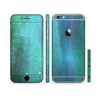 The Vivid Green Watercolor Panel Sectioned Skin Series for the Apple iPhone 6 Plus