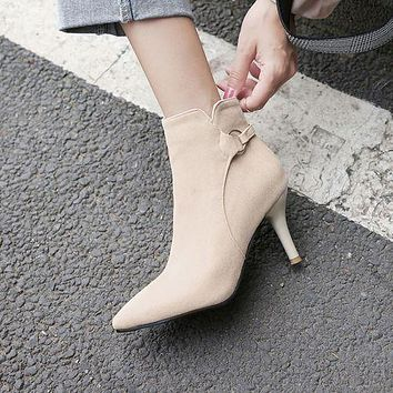 Pointed Toe Velvet Women's High Heeled Ankle Boots