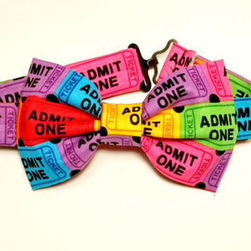 Boy's Ticket Bow Tie • Pre-Tied Bow Tie •Kids Movie Bow Tie • Geekery Kids Fashion • Novelty Bowtie • Gifts For Boys • Colorful Bowtie