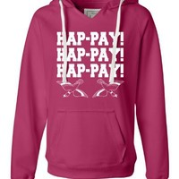 Small Wildberry Womens Hap-pay Hap-pay Hap-pay Happy Happy Happy Duck Dynasty Duck Hunting Deluxe Soft Fashion Hooded Sweatshirt Hoodie