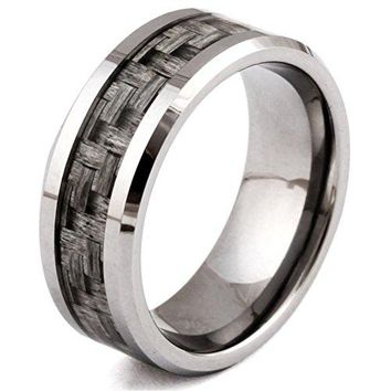 Mens Womens 8mm Tungsten Carbide Ring Grey Carbon Fiber Inlay Vintage Wedding Engagement Promise Band for Her and His Comfort Fit