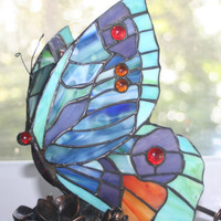 Vintage Stained Glass Butterfly Nightlight,Lamp,Home Lighting,Butterfly