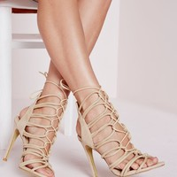 ROPE LACE UP HEELED SANDALS NUDE