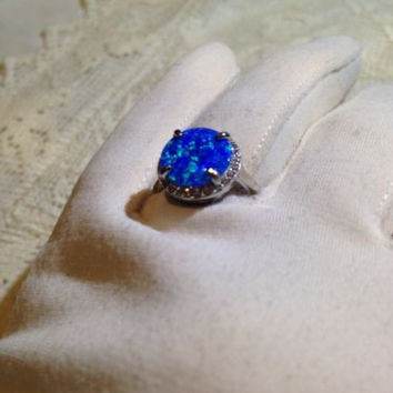 Nemesis Antique Blue Lab Opal Stone 925 Sterling Silver Ring