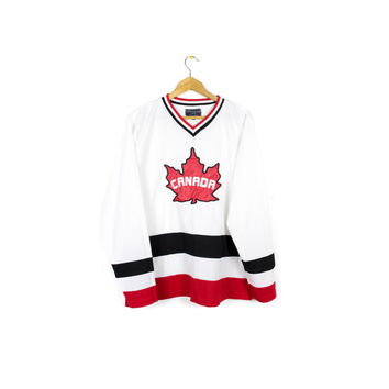canada maple leaf hockey jersey - white + red + black
