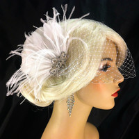 Wedding Accessories, Bridal Accessories, Rhinestone Bridal White or Ivory Fascinator, Bridal Fascinator, Wedding Veil, Bridal Veil