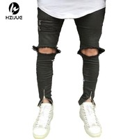 2017 Fashion Skinny Jeans Men Knees Holes Distressed Biker Jeans Slim stretched high street Jeans Mens vaqueros hombre