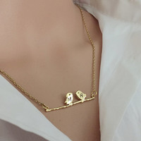 2 initials necklace, personalized couples necklace, couples initials necklace for her Personalized jewelry for girlfriend, wife Gift for her