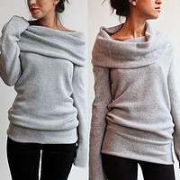 sweaters and pullovers for women Sexy lady Off Shoulder Roll Neck Long Sleeve Knitted Jumper Sweater Pullover