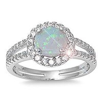 ALL NATURAL GENUINE GEMSTONE- 6mm 1.15ctw Sterling Silver Solitaire OCTOBER MYSTIC FIRE WHITE OPAL ROUND BIRTHSTONE Channel Band Pave Cz Accents Ring 5-10 (5)