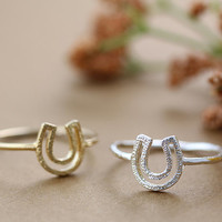 Horseshoe Ring Funny Ring Simple Ring 7.5 US Size Gold Silver Plated Jewelry gift idea 1piece