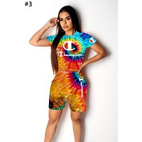 Champion Tide brand female personality tie-dye letter printing short-sleeved sports suit two-piece #3