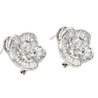 .925 Sterling Silver Flower Clear Inlay Stud Earring