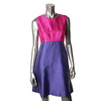 Kate Spade Womens Blakely Silk Colorblock Cocktail Dress