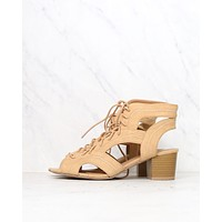 Lace Up Chunky Heeled Sandals in Toffee