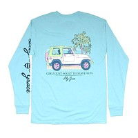 Girls Want to Have Sun Long Sleeve Tee in Chalky Mint by Lily Grace