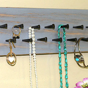 Jewelry Holder Wall Jewelry Organizer Vintage Gray Medals Holder Organizer Headband  Earring Holder Necklace Rack Key Holder Necklace Holder