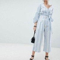 Neon Rose Wrap Top & Trousers In Stripe Co-Ord at asos.com