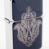 Windproof Customized Chrome Oil Lighter - Hamsa Hand Flower - Collectable, Refillable, Damn Cool. :)