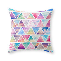 Society6 Pink Clouds Teal Throw Pillow