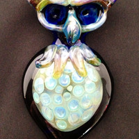 Hand Blown Glass Owl Pipe with Honeycomb
