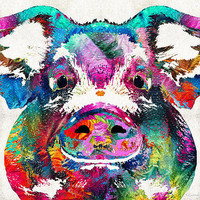 Colorful Pig Art - Squeal Appeal - By Sharon Cummings Print