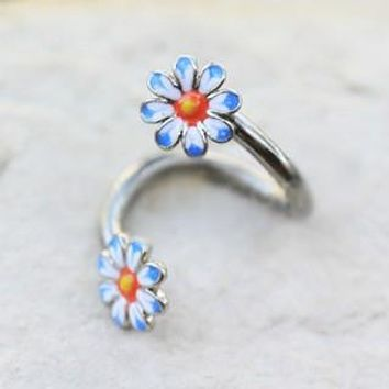 316L Stainless Steel Daisy Flower Twist Navel Jewelry