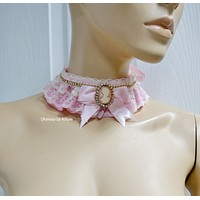 Aurora Sleeping Beauty Lace Lolita Choker Gothic Necklace with Pendant