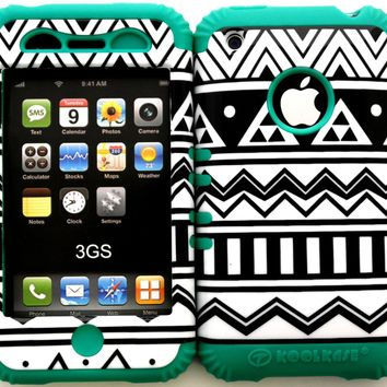Hybrid Silicone Rubber Cover Case Skin for Iphone 3 3g 3gs Black & White Aztec Tribal on Teal Gel
