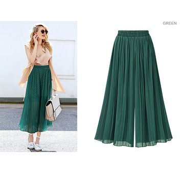 fhotwinter19 New fat MM plus size women's pleated loose chiffon wide leg pants