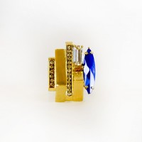 Iosselliani Large Gold Ring with Blue Stone - Accessories - Just In - SinnStyle.com