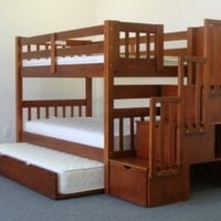 Bedz King Twin Over Twin Stairway Bunk Bed with Twin Trundle, Espresso