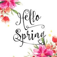 Hello Spring, spring decor featuring watercolor flowers Art Print by BlursbyaiShop