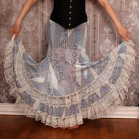 Endless Lace Tiered Gypsy Skirt - Blue, Taupe, and Ivory