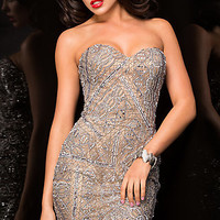 Silver Strapless Sweetheart Dress by Scala