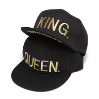 KING QUEEN Gold letters Embroidery Snapback Hats Flat Bill Trucker Hats Acrylic Men Women Gifts for Him Her