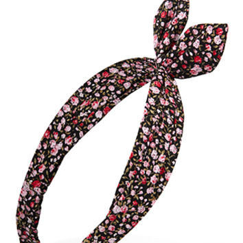 FOREVER 21 Knotted Floral Headwrap Black/Pink One