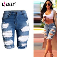 2016 Europe Style Half Ripped Jeans New High Waist Personality Fashion Street Hole  Stretch Pants Slim Torn Femme Denim Shorts