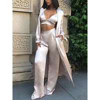 Kaisie trendy luxury three piece satin set