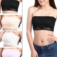 Hot selling Women's Sexy Lace Casual Crop Boob Tube Top Bandeau Bra Strapless Seamless Solid Black White = 1932092036