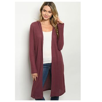 Cozy Long Plum Hooded Cardigan