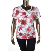 Karen Scott Womens Floral Print Short Sleeves Pullover Top