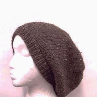 Brown with Flecks  Knit Beanie Slouch hat size large   4657