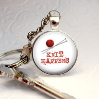 Knit Happens Keychain : Funny Needlework Quote