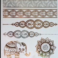 Elephant Tribal Henna Metallic Flash Tribal Temporary Tattoos