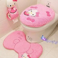 4pcs/set Hello kitty bathroom set toilet seat cover wc seat cover bath mat holder closestool lid cover Christmas home decor